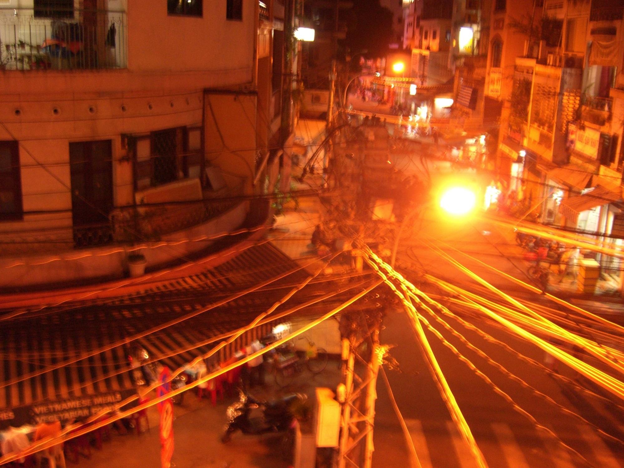 Blick aus dem Hotel in Bui Vien, Saigon