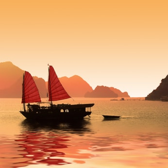 Sonnuntergang in der Halong Bay