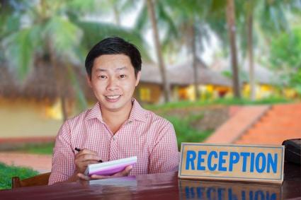 Die Rezeption ist auch in Vietnam zentraler Anlaufpunkt...